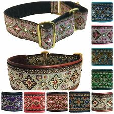 SWAROVSKI CRYSTAL CROSS GENUINE LEATHER ADJUSTABLE PREMIUM DOG COLLAR - HANDMADE