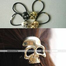 1pc Women Punk Catwalk Hair Accessory Cuff Wrap Pony Tail Band Skull Holder Gift