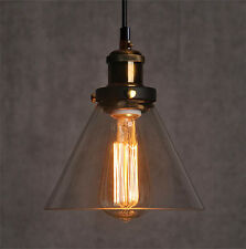 Industrial Vintage Pendant Ceiling Light Glass Lampshade Brass Fixture Cafe LED