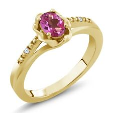 0.52 Ct Oval Pink Mystic Topaz White Topaz 14K Yellow Gold Ring
