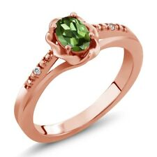 0.52 Ct Oval Green Tourmaline White Sapphire 18K Rose Gold Plated Silver Ring