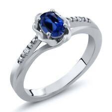 0.52 Ct Oval Blue Simulated Sapphire White Topaz 925 Sterling Silver Ring