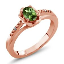 0.51 Ct Oval Green Tourmaline White Diamond 18K Rose Gold Plated Silver Ring