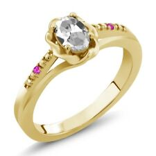 0.52 Ct Oval White Topaz Pink Sapphire 18K Yellow Gold Plated Silver Ring