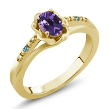 0.36 Ct Oval Purple Amethyst Swiss Blue Topaz 18K Yellow Gold Plated Silver Ring