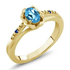 0.52 Ct Oval Swiss Blue Topaz Blue Sapphire 18K Yellow Gold Plated Silver Ring