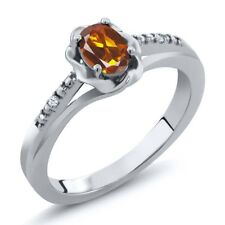 0.42 Ct Oval Orange Red Madeira Citrine 925 Sterling Silver Ring