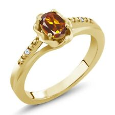 0.42 Ct Oval Orange Red Madeira Citrine 14K Yellow Gold Ring