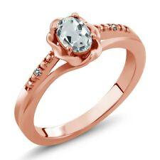 0.44 Ct Oval Sky Blue Aquamarine White Diamond 18K Rose Gold Plated Silver Ring