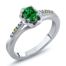 0.36 Ct Oval Green Simulated Emerald Simulated Peridot 925 Sterling Silver Ring