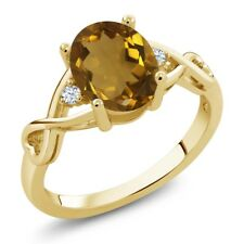 1.45 Ct Oval Whiskey Quartz White Topaz 18K Yellow Gold Plated Silver Ring