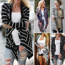 Women Casual Printed Long Sleeve Striped Cardigan Outwear Coat Sweater Patchwork