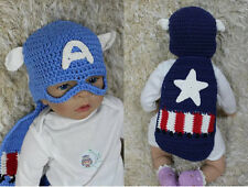 New Captain America Crochet Knit Baby Hat Costume Newborn Photo Prop Hat & Cover