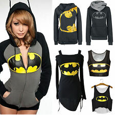 Womens Batman Print Pullover Hooded Hoodie Sweatshirt Zip Up Jumper Tops Sweater