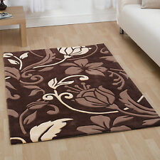 Modern Classic Damask Floral with Leaves Rug – Brown & Cream – Durable & Soft