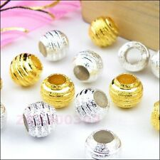 15Pcs Copper Spacer Beads Fit Charm Bracelet 10mm Silver/Gold R0139
