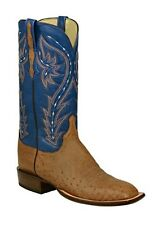 Lucchese HY2014 W8 Mens Barnwood Ostrich Leather Western Horseman Cowboy Boots