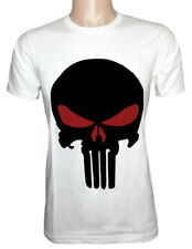 100% Cotton Men's Tee The Punisher Skull T Shirt Short Sleeve White and Red Eyes