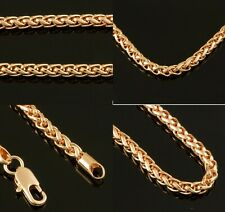 """Rose Gold Filled 18"""" 20"""" 22"""" or 24"""" Spiga Mens 4mm Chain Womens Necklace New"""