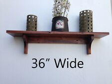 Wall Shelf Rustic Style Solid Albus Wood Rustic Cherry Finish (Choose Color)