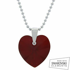 925 Sterling Silver Swarovski Crystal Heart Pendant Chain Necklace RED SIAM AB