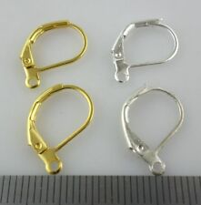 10/40/300pcs Plated Gold/Silver lever back hoop Earring Findings