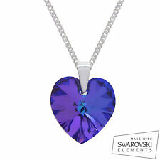925 Sterling Silver Swarovski Crystal Heart Pendant Chain Necklace HELIOTROPE