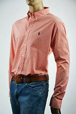 Ralph Lauren Orange & White Check Long Sleeve Shirt-Purple Pony-NWT-