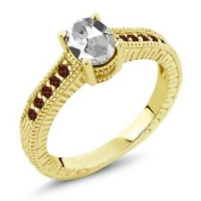 1.35 Ct White Topaz Red Garnet 18K Yellow Gold Plated Silver Engagement Ring