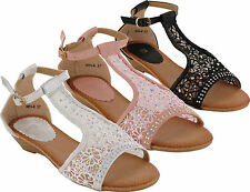 WOMENS DIAMANTE LACE PARTY EVENING WEDDING LOW WEDGE SANDALS SHOES LADIES SIZE