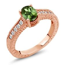 1.07 Ct Oval Green Tourmaline White Sapphire 14K Rose Gold Engagement Ring