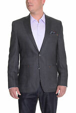 Tallia Trim Fit Charcoal Herringbone Textured Wool Blazer With Elbow Patches