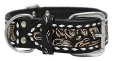THE LAREDO Genuine Leather Dog Collar * 6 Sizes * Black Hand Dyed & Hand Crafted