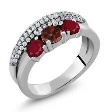 1.86 Ct Round Red Garnet Red Ruby 925 Sterling Silver Ring