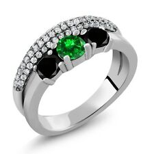 2.09 Ct Round Green Simulated Emerald Black Diamond 925 Sterling Silver Ring