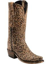 Lucchese N9634 S53 Womens Gold Brown Leopard Print Leather Western Cowboy Boots
