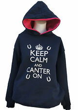 Keep Calm and Canter On   Hoodies Navy/cerise/white print  Equestrian