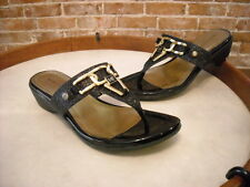 Marc Fisher Alining Black Glitter Thong Sandal NEW