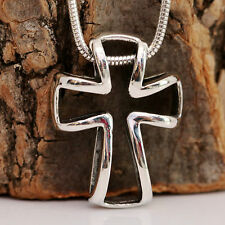 925 Sterling Silver Big Open Cross Pendant & Snake Chain Necklace With Gift Box
