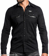 Affliction Black Premium - BLACKOUT - Men's Long Sleeve Dress Shirt - NEW BlacK