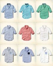NWT HOLLISTER by ABERCROMBIE & FITCH MEN'S SOLID & CONTRAST POCKET OXFORD SHIRT