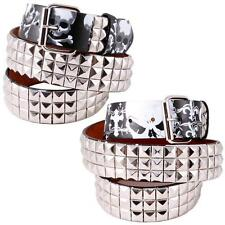 3-Row Metal Pyramid Studded/Printed Leather Belt Unisex Womens Punk Rock Biker