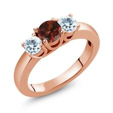 0.99 Ct Round Red Garnet Sky Blue Aquamarine 18K Rose Gold Plated Silver Ring