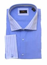 Steven Land Trim Fit Blue Check Contrast Collar French Cuff Cotton Dress Shirt