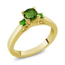 0.64 Ct Round Green Chrome Diopside and Simulated Tsavorite 18K Yellow Gold Ring