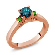 0.69 Ct Round Blue Diamond Simulated Tsavorite 925 Rose Gold Plated Silver Ring