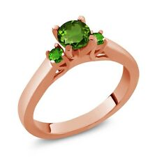 0.64 Ct Round Green Chrome Diopside and Simulated Tsavorite 14K Rose Gold Ring