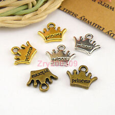 30Pcs Tibetan Silver,Gold,Bronze Princess Crown Charm Pendants Drops M1440