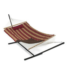 Cotton Stripe Rope Hammock 12 Feet Steel Stand Pad Pillow w/ Tablet & Cup Holder