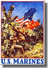 U.S. Marines Vintage Picture on Stretched Canvas Wall Art Décor Framed